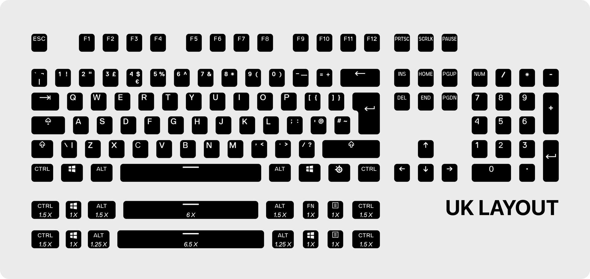 Touches Prismcaps britanniques avec 2ensembles supplémentaires (16touches) de touches de clavier pour des configurations alternatives de la rangée du bas.