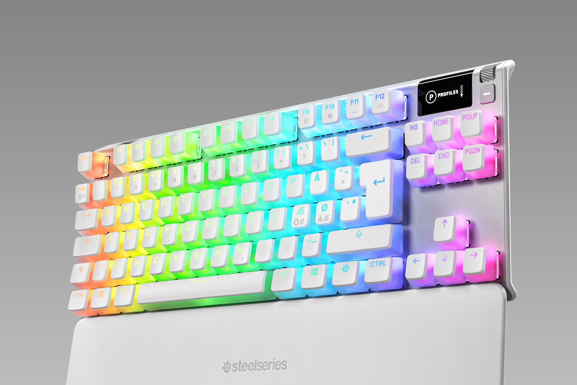 Diagonal view of the Nordic version of the Apex 7 TKL, ghost edition.