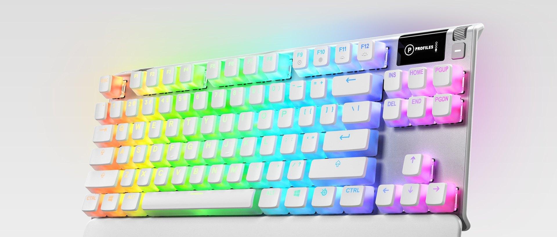 A closeup of PrismCaps, SteelSeries double shot PBT keycaps.