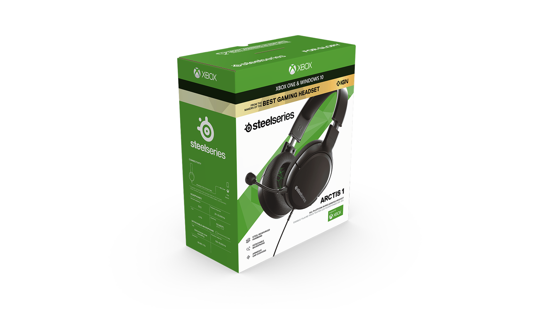 Retail packaging for the Arctis 1 for Xbox gaming headset