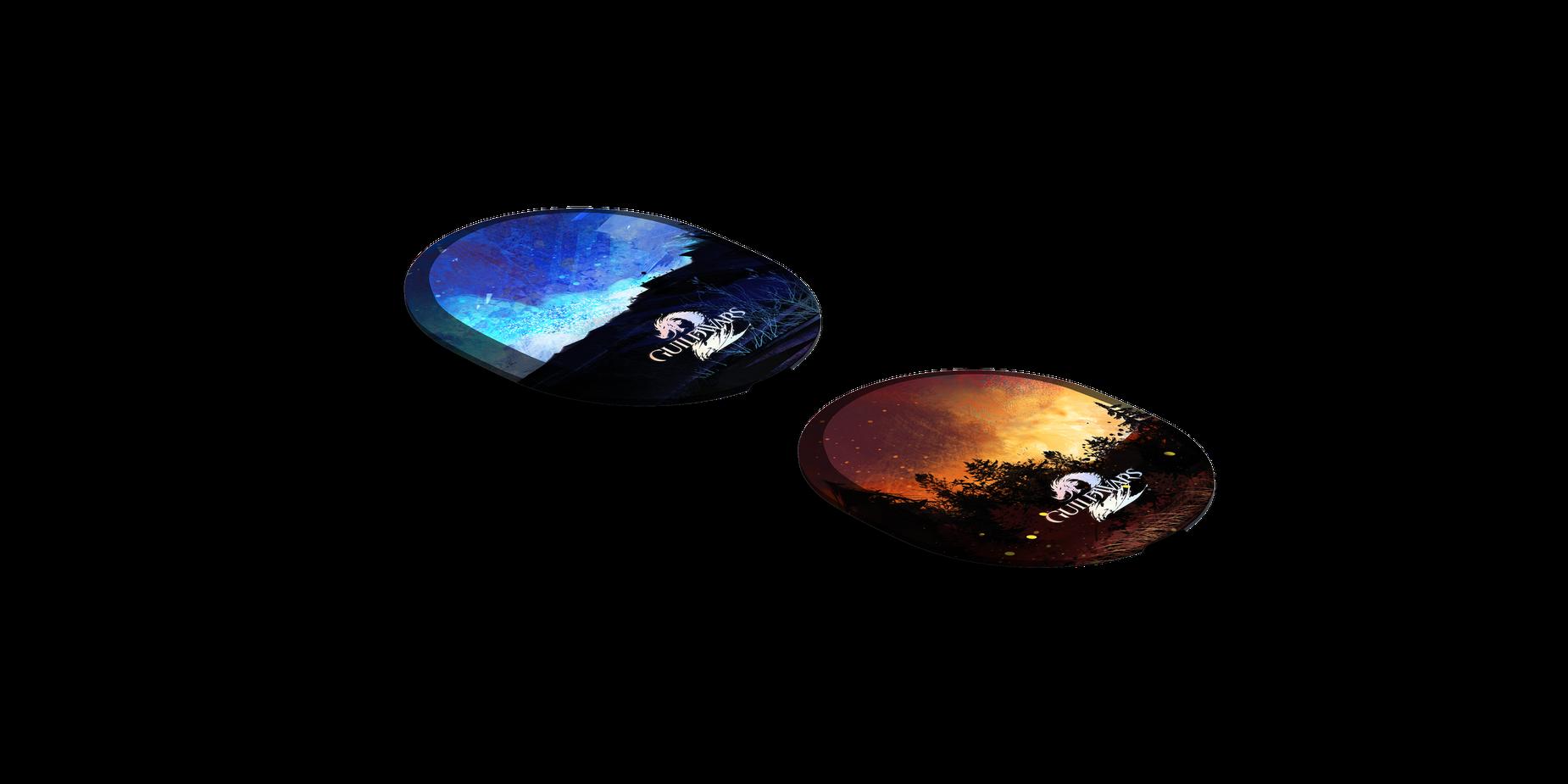 Plaques d'écouteur en édition limitée posé sur une surface plane.