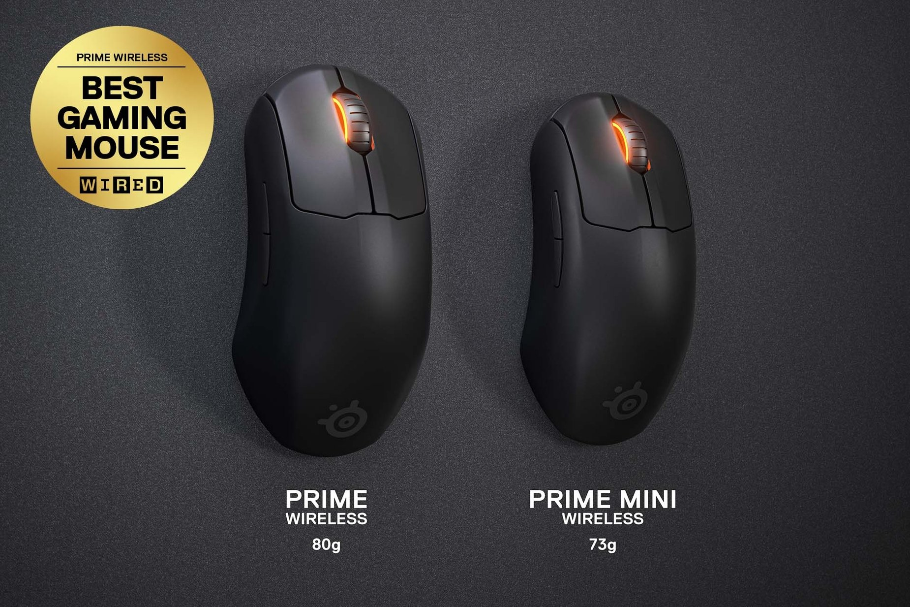 """Prime Mini Wireless and Prime Wireless mouse side by side to show the difference in size. Text left reads """"Prime: 80 grams."""" Text right reads """"Prime Mini: 73 grams."""""""