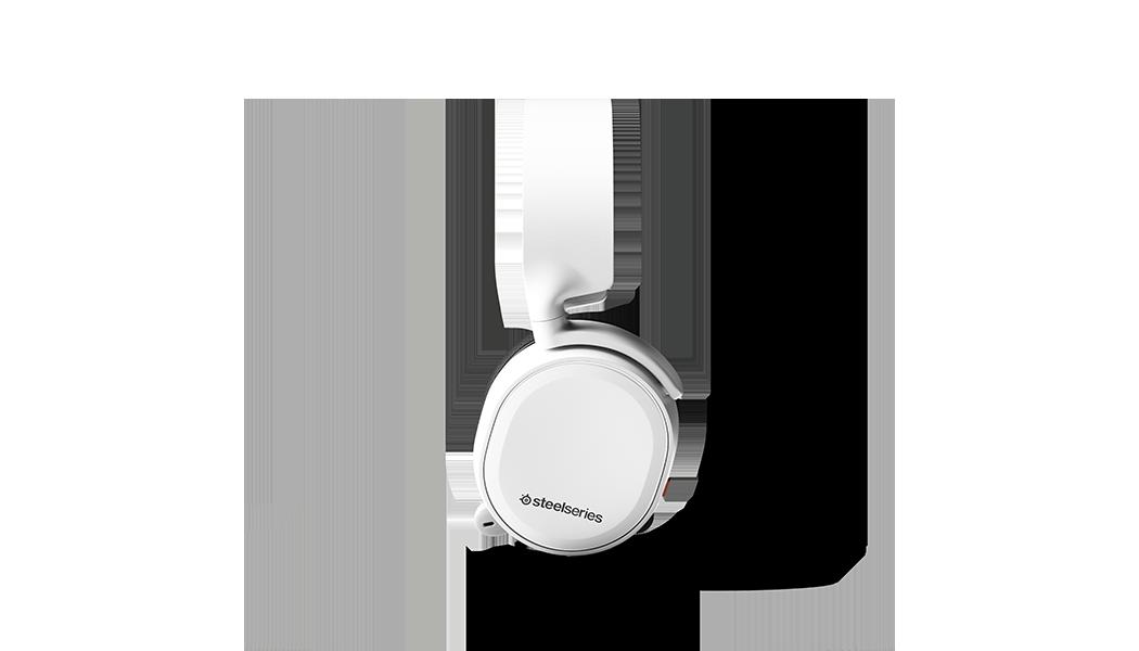 白いイヤーカップとスタイリッシュな白いヘッドフォンバンドを見せている白いArctis 3コンソールヘッドセットの側面図。
