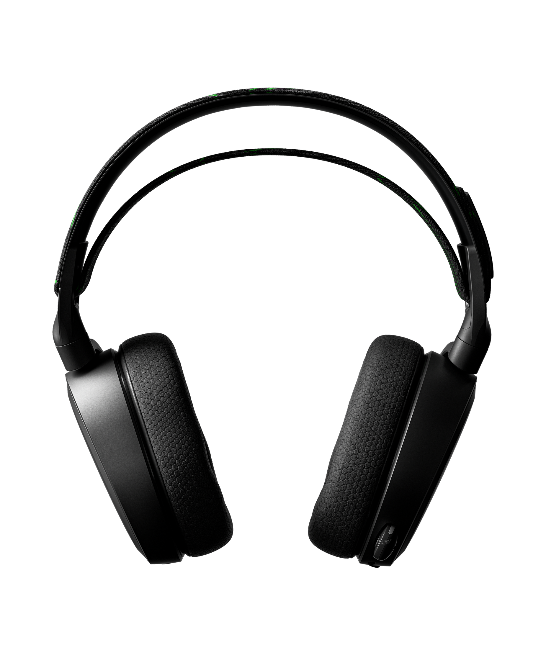 Headset rendered from front view to display both earcups and ski goggle band