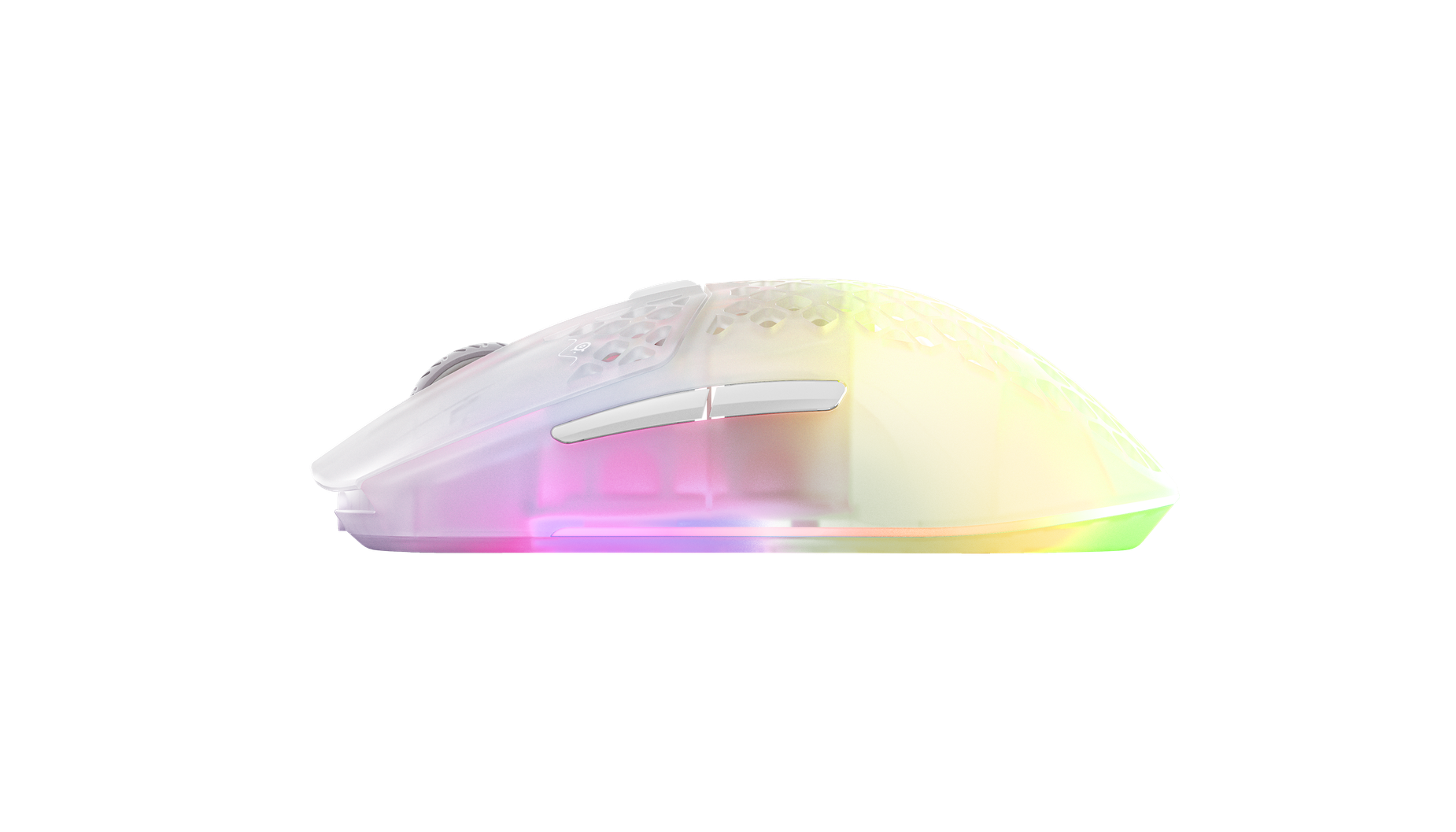Side view of the Aerox 3 Wireless ghost mouse, showing off the clear design with vibrant rgb shining through.