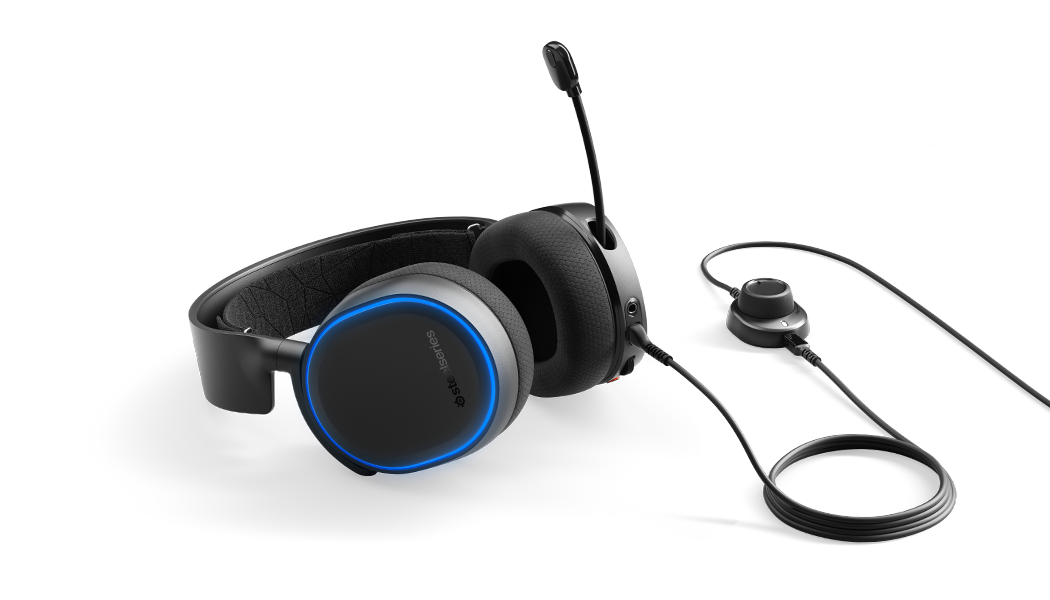 Arctis 5 headset laying flat with microphone in extended position and chat-mix on the attached cable