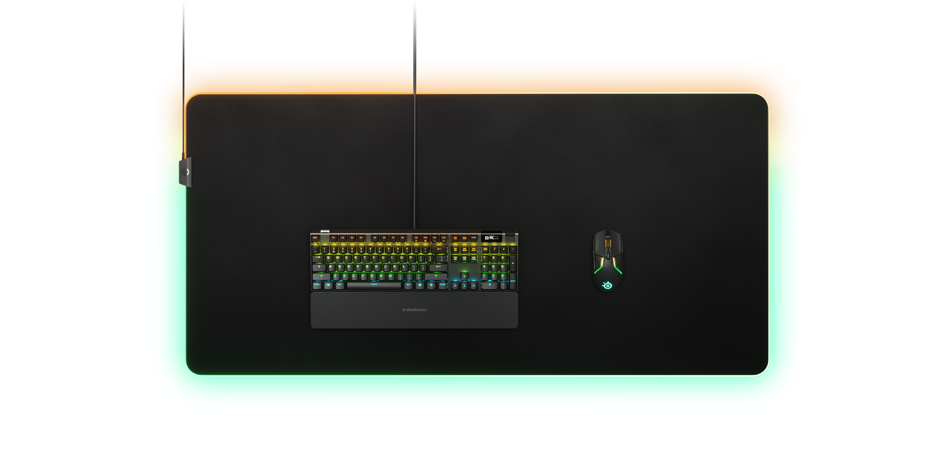 Prism mousepad from above with keyboard and mouse
