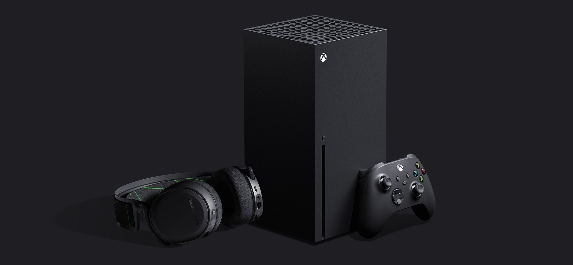 Image of the A7X leaning against the new Xbox Series X