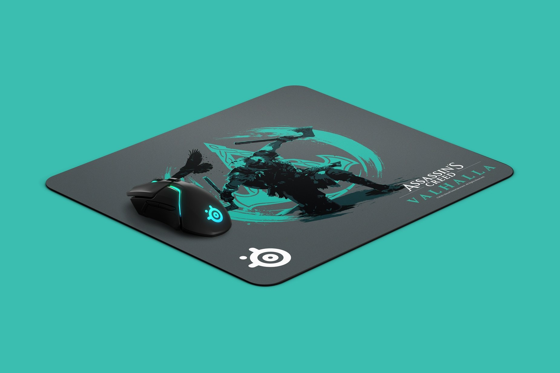 Product render of the QcK Large Assassins Creed Valhalla mousepad laying at an angle