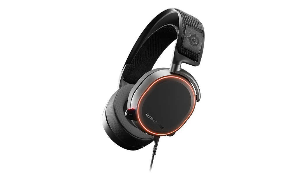 Arctis Pro headset shown from an angled view with RGB illumination