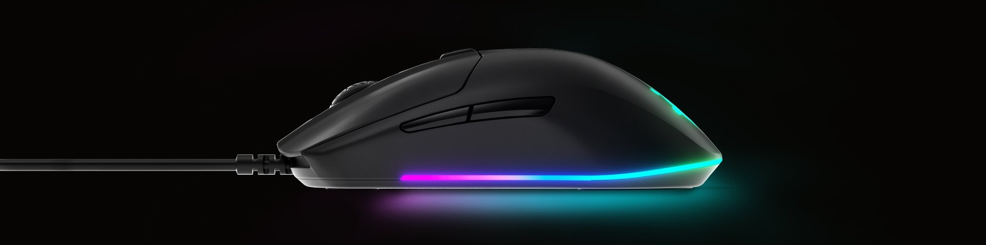 SteelSeries Rival mouse from an side profile angle