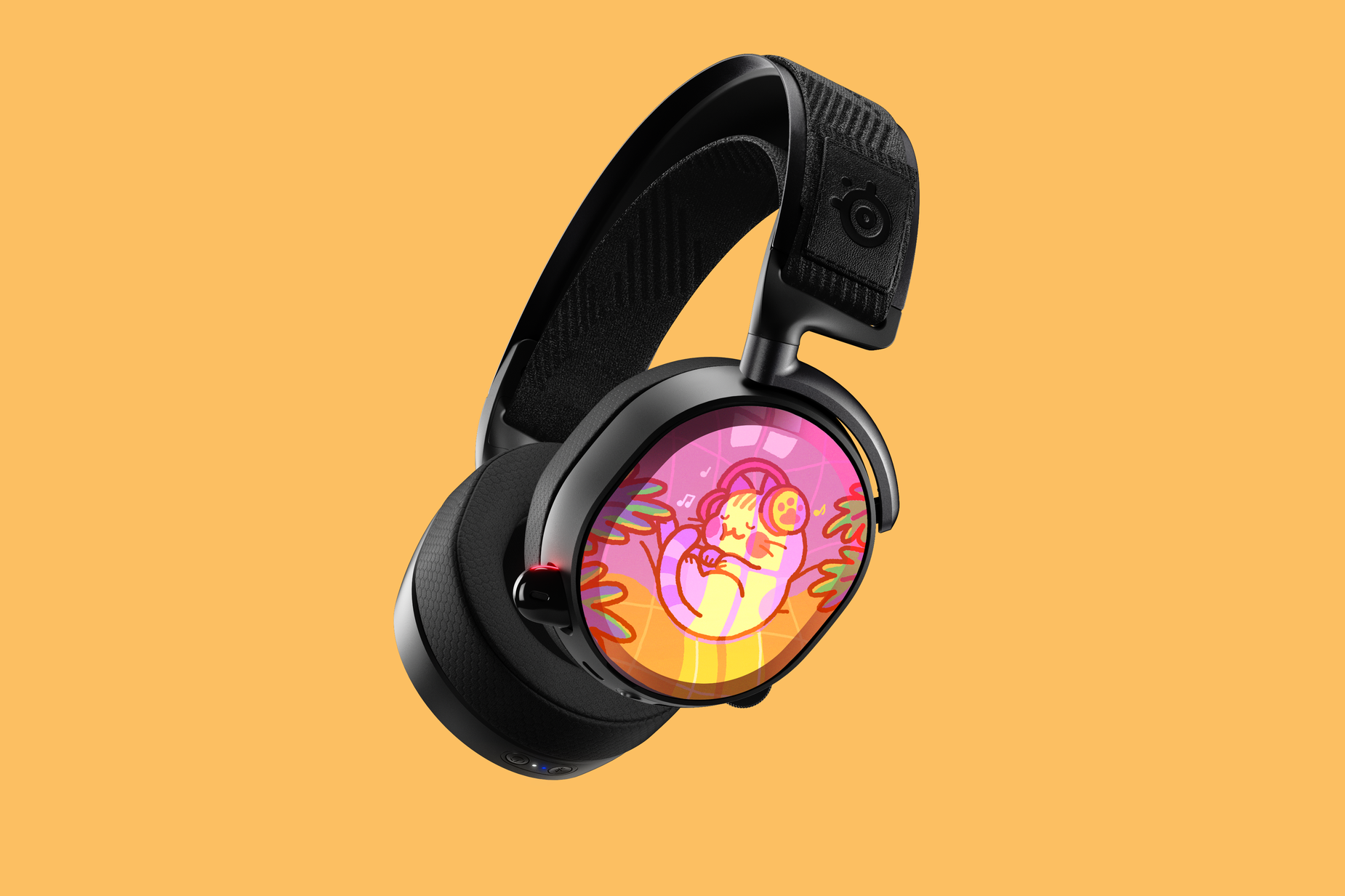 Product render of Arctis Pro with Mis0happy speaker plates adorning the side