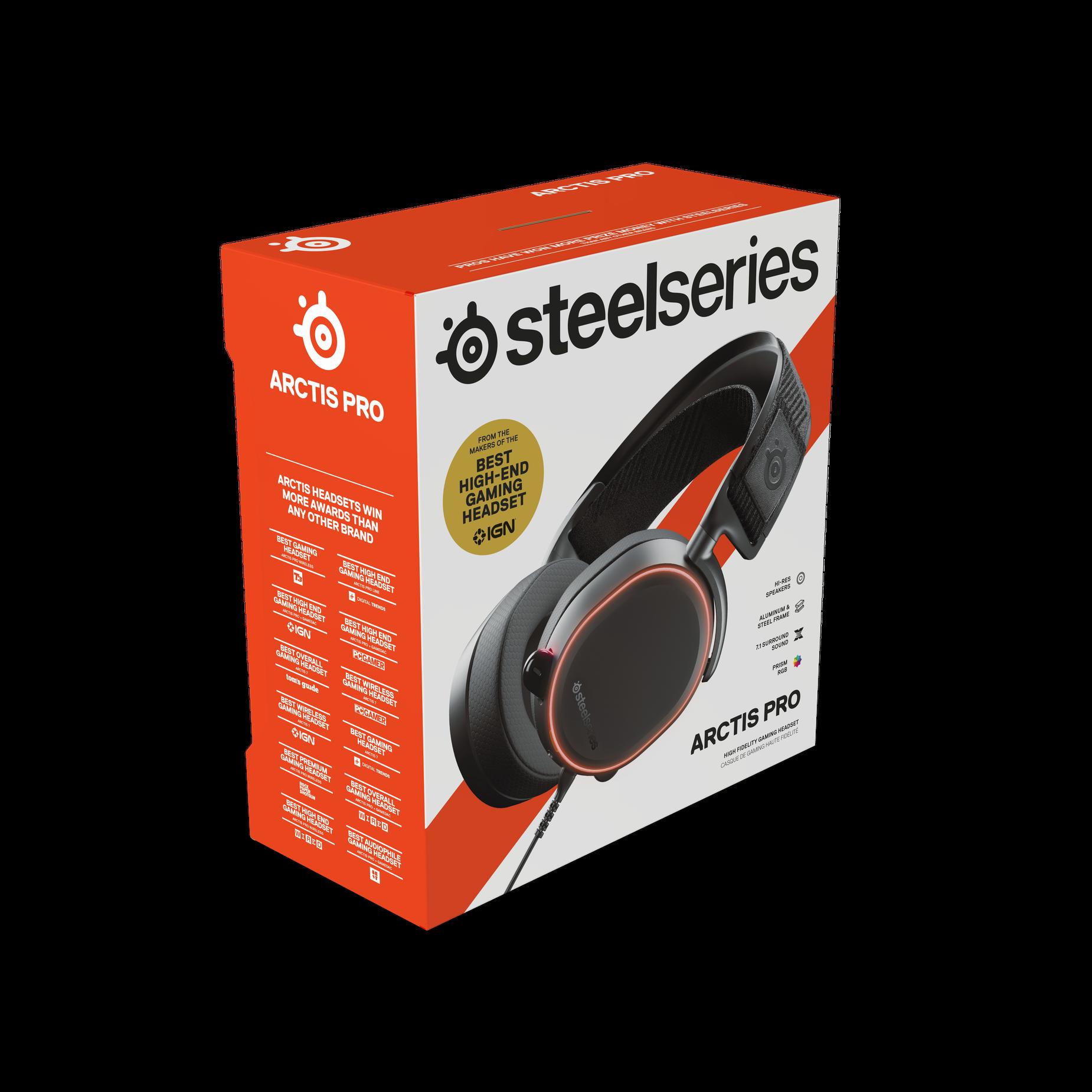 Arctis Pro headset exterior packaging.