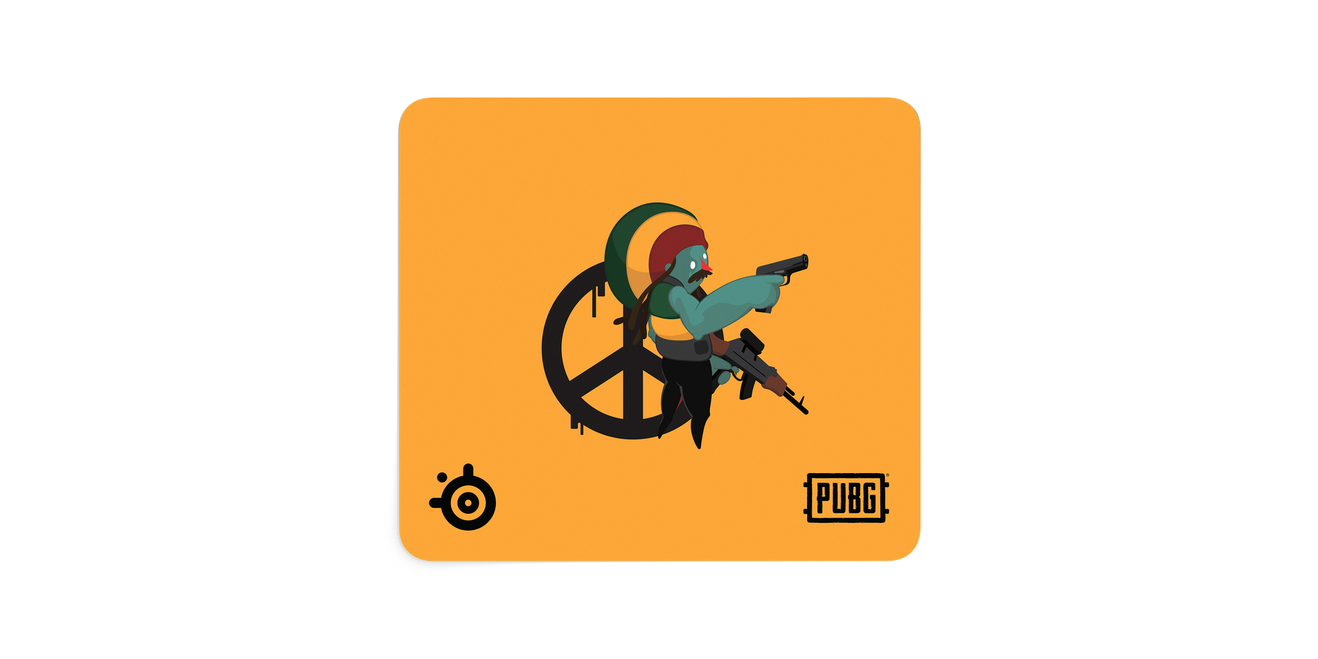 Image of a mousepad with an illustrated character, holding two guns and standing in front of a peace sign.