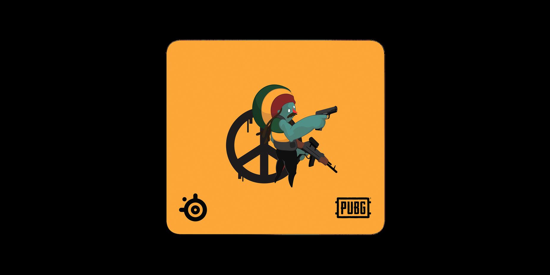 Ansicht eines Mauspads mit einer illustrierten Figur, die zwei Gewehre hält und vor einem Friedenszeichen steht.