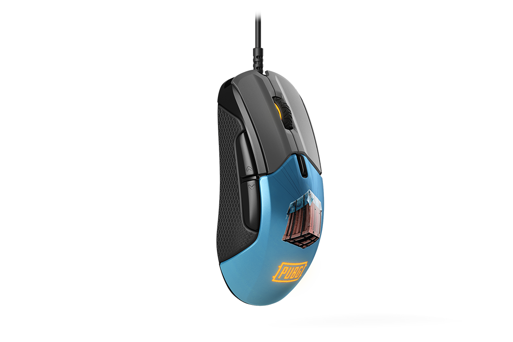 Rival 310 PUBG Edition gaming mouse, hanging side view