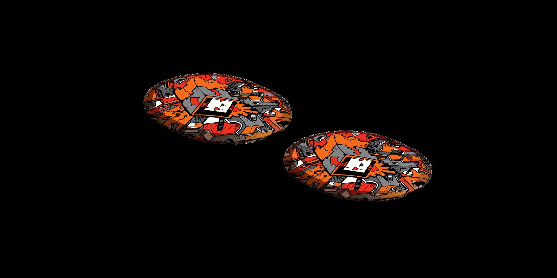 Two Arctis Pro speaker plates designed by Artist Dune Haggar