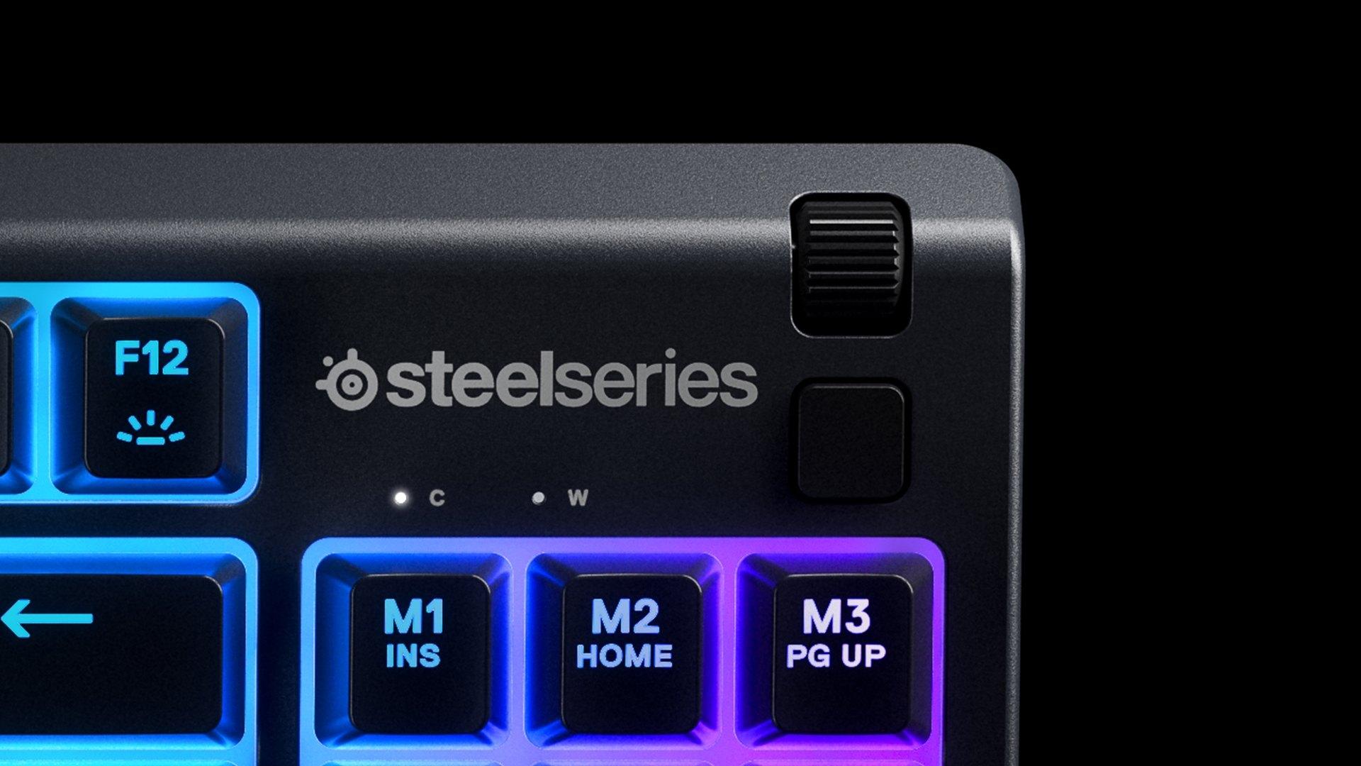Nahaufnahme des klickbaren Lautstärkerads auf der rechten Seite der Tastatur.