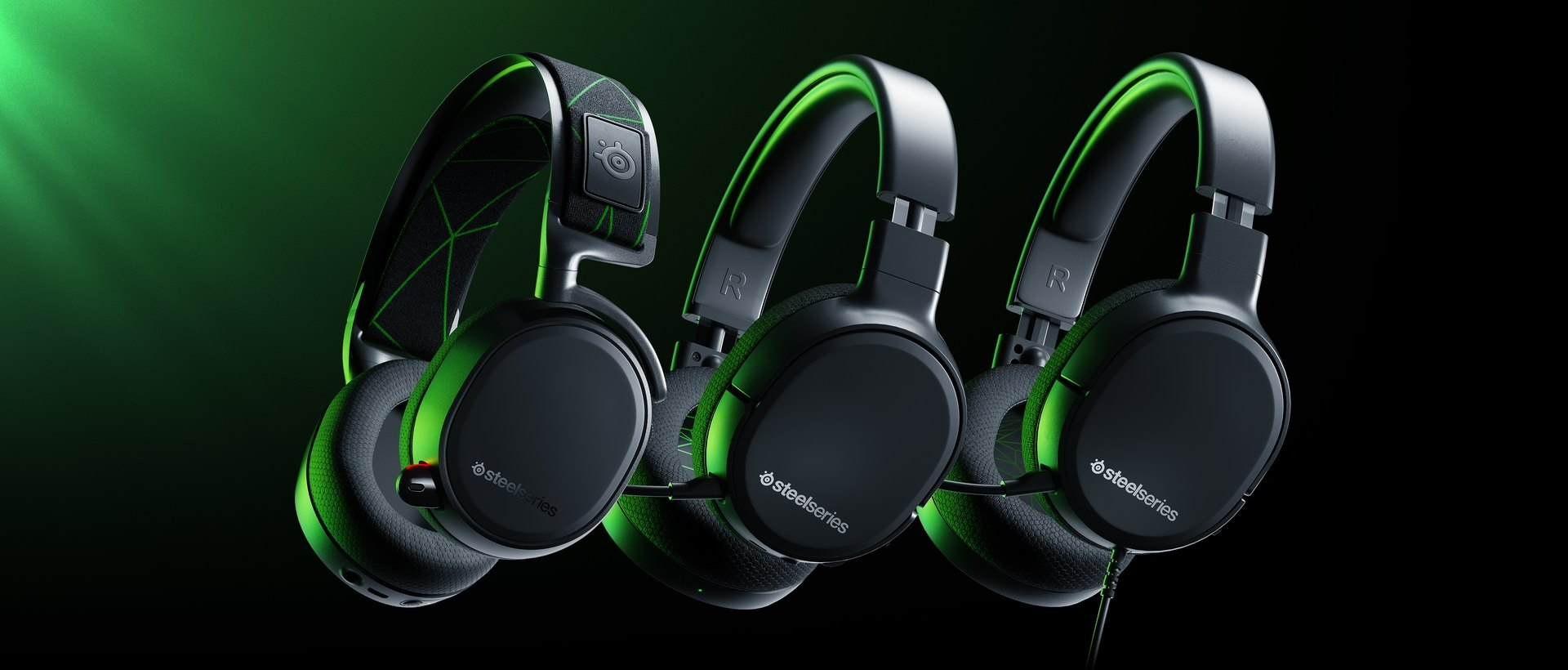 The Arctis 1, Arctis 1 Wireless, and Arctis 9X headsets, all designed for Xbox