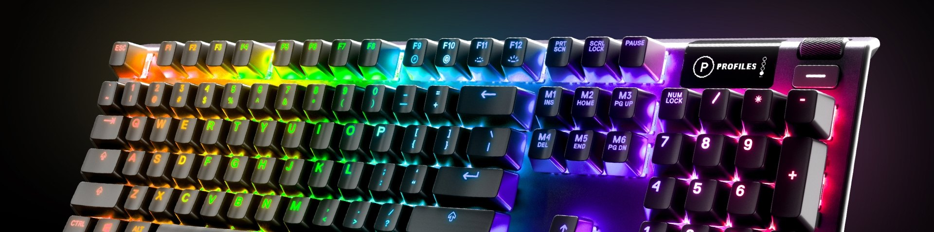 Visual of an Apex keyboard with RGB illumination
