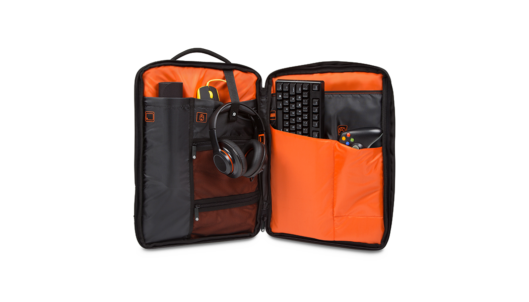 "Targus X SteelSeries Sniper 17.3"" Backpack, open view"