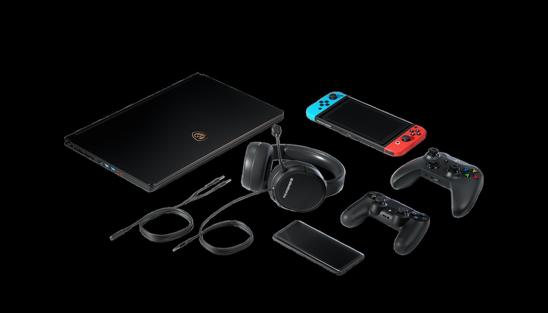 Le casque audio de gaming Arctis1 entouré par tous les appareils avec lesquels il est compatible