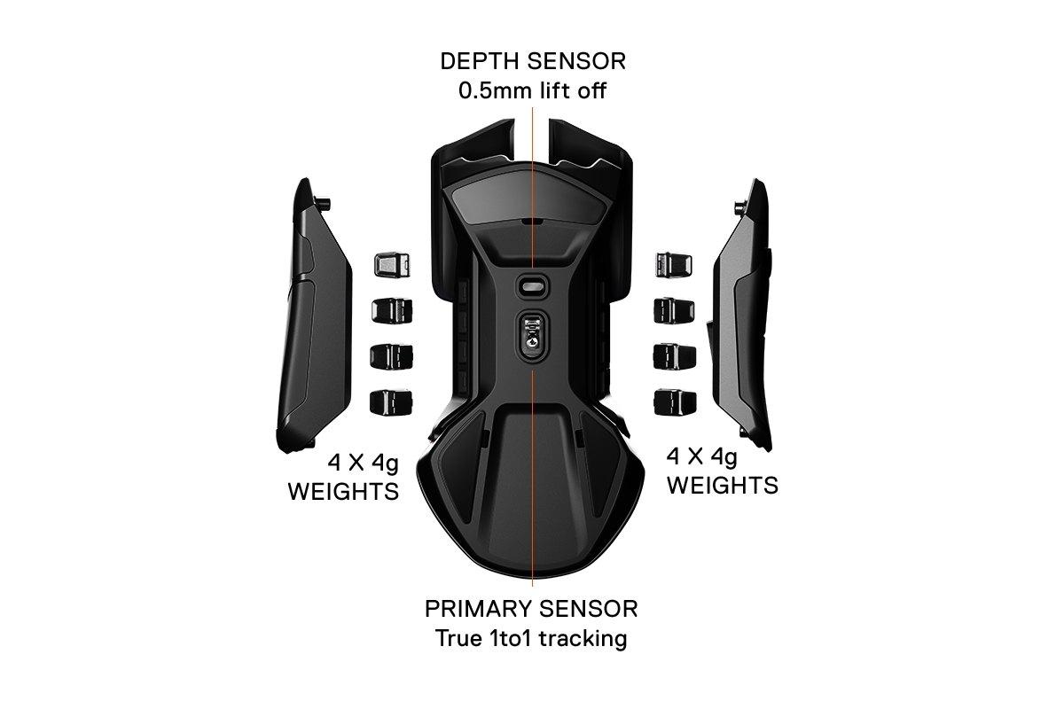 La souris de jeu Rival600 avec les côtés détachés et les poids amovibles visibles