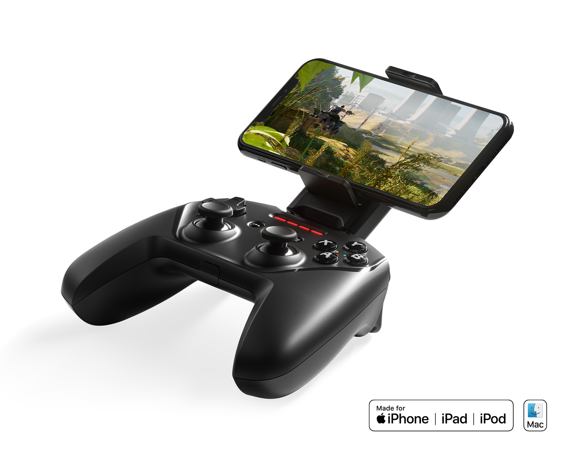 Nimbus + shown with iOS mobile device using included mount; Made for iPhone | iPad | iPod and Mac OS