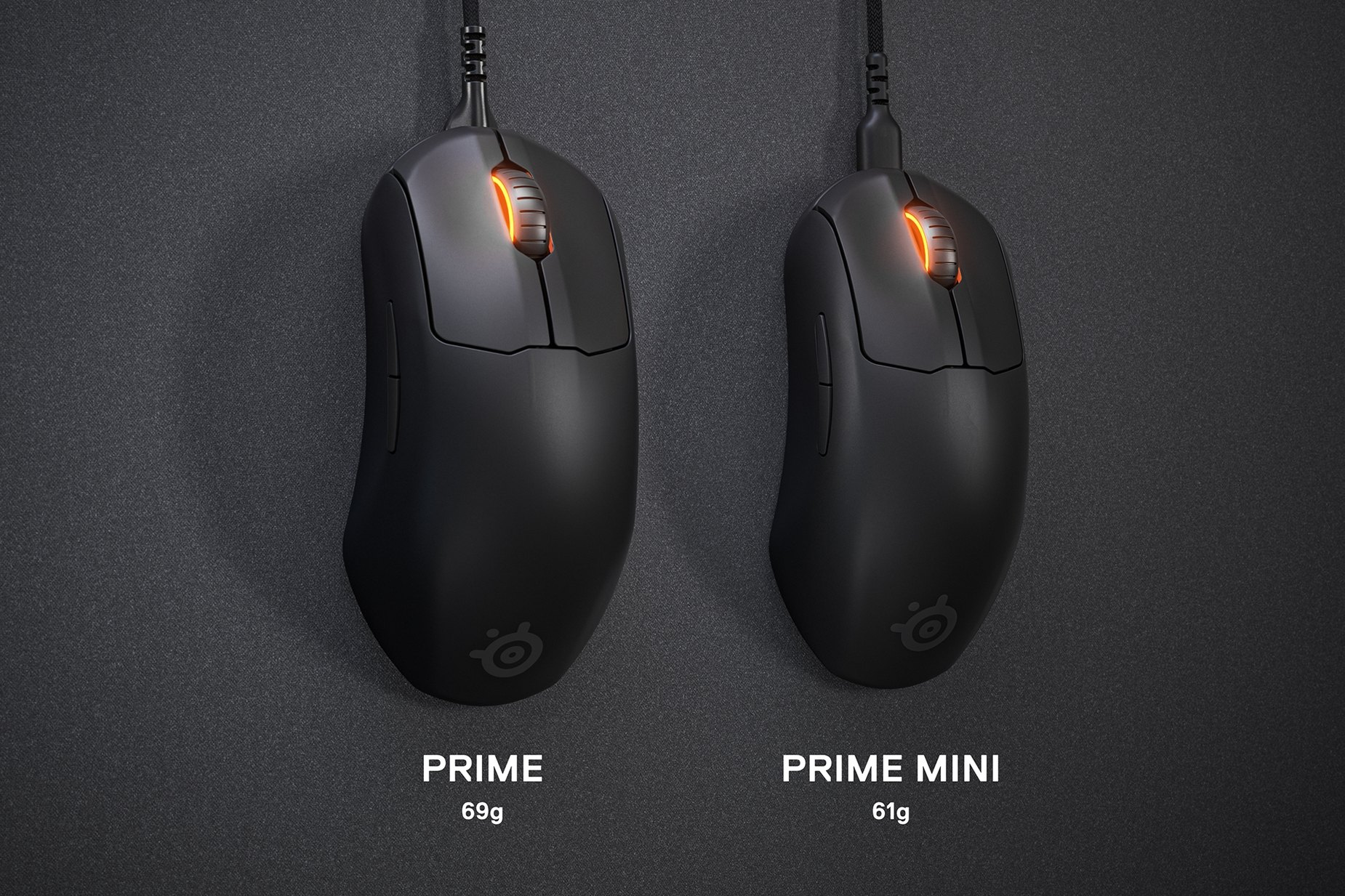 """Prime Mini and Prime mouse side by side to show the difference in size. Text left reads """"Prime: 69 grams."""" Text right reads """"Prime Mini: 61 grams."""""""