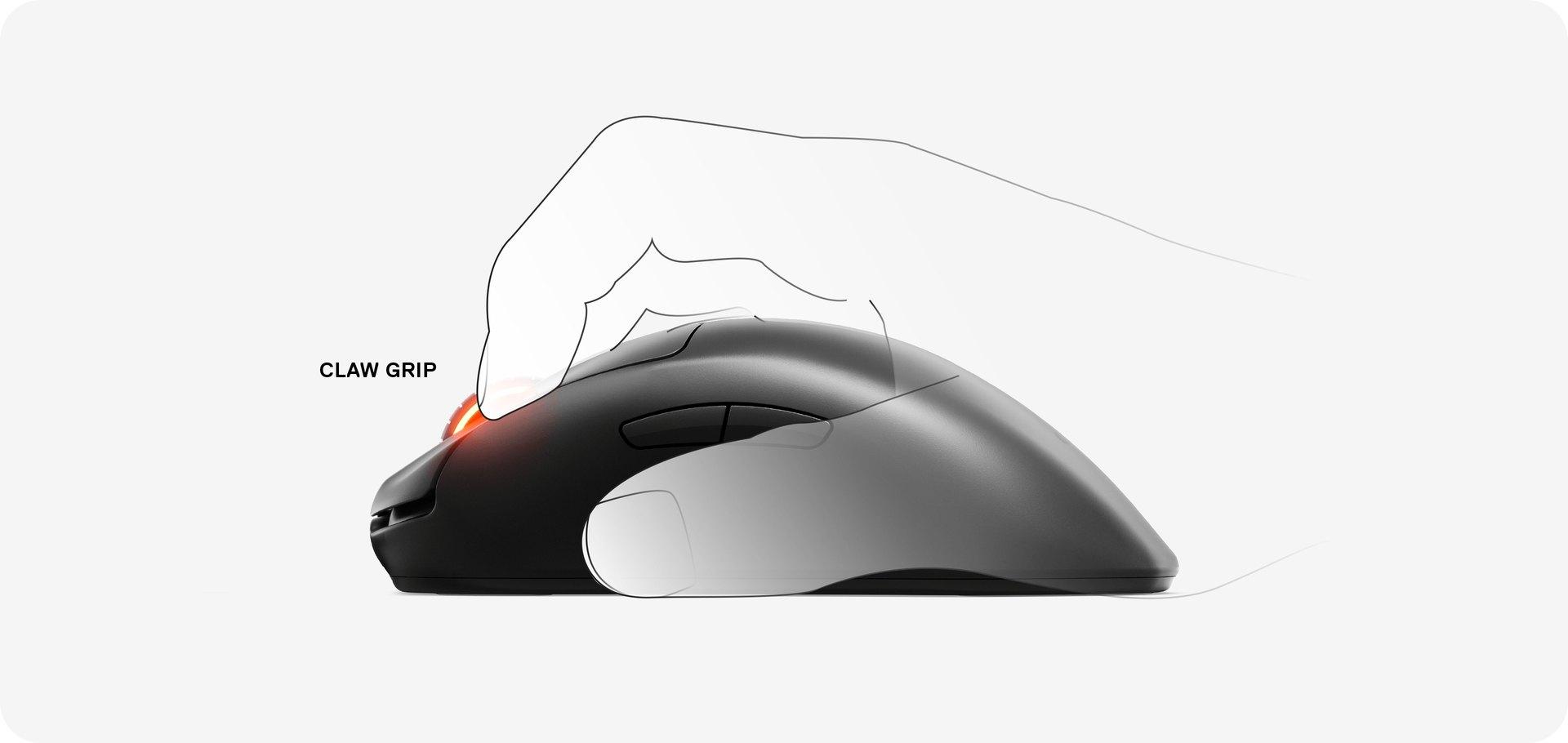 """Grafische Darstellung einer Hand, die die """"Prime Wireless""""-Maus im Klauengriff verwendet."""