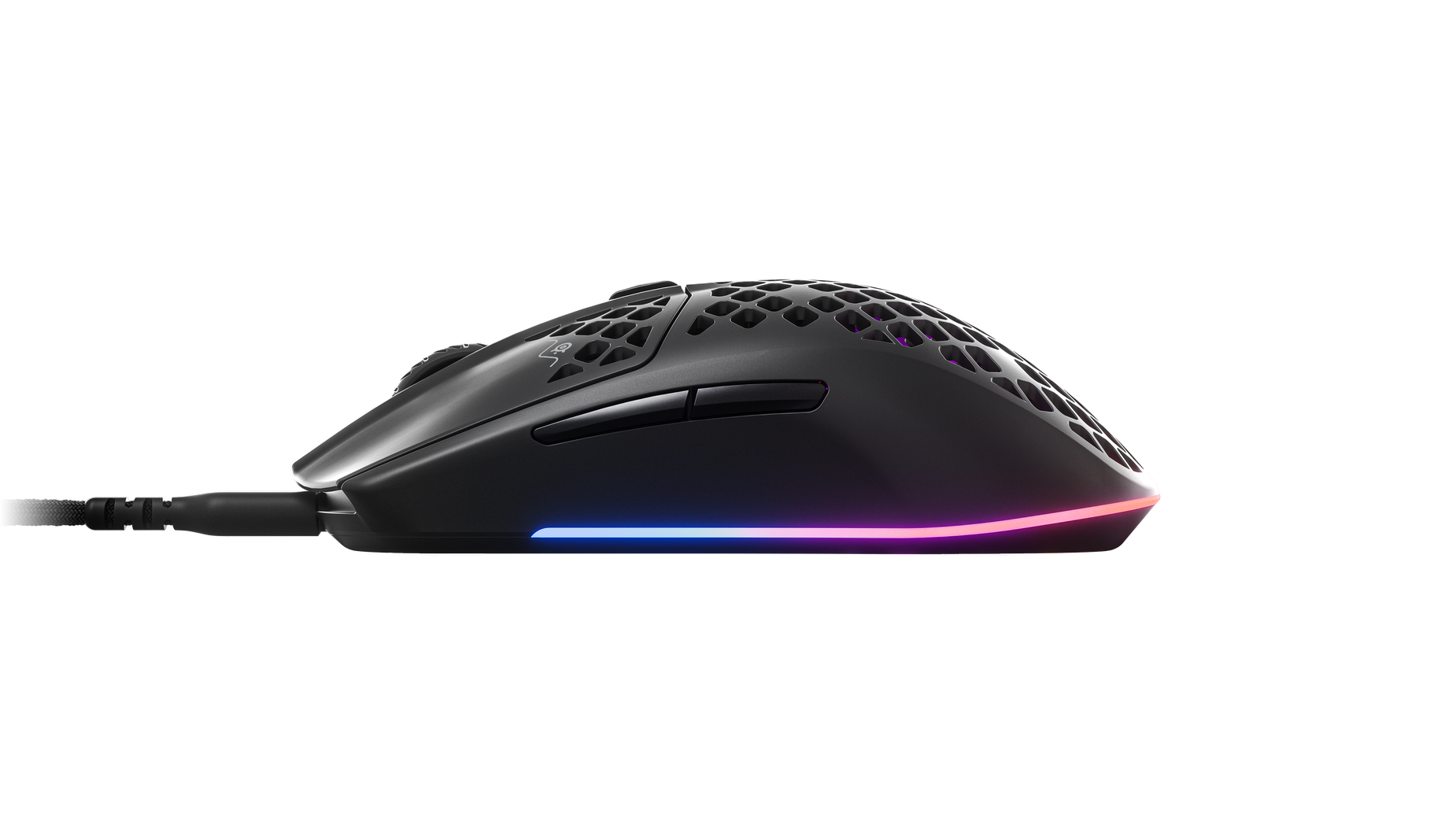 Aerox 3 mouse viewed from the side showing the height and the side buttons