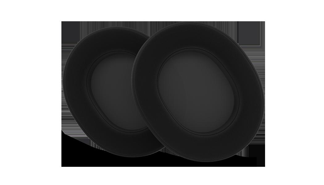 Nahaufnahme zur Präsentation der Ohrpolster aus Velour für Arctis-Headsets.