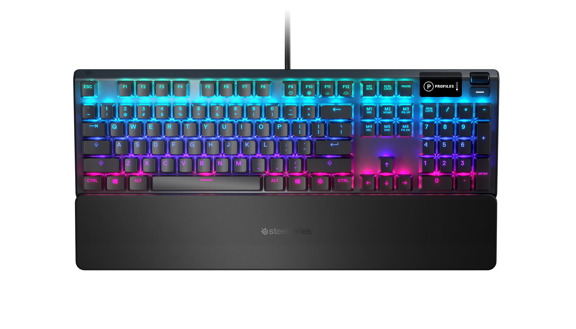 Top angle of the Apex 5 gaming keyboard