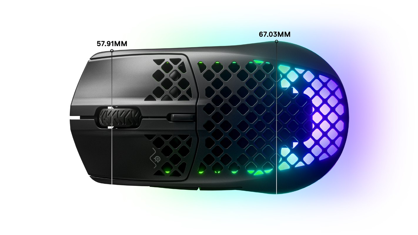 Aerox top dimensions: width front 57.9mm, width rear 67mm