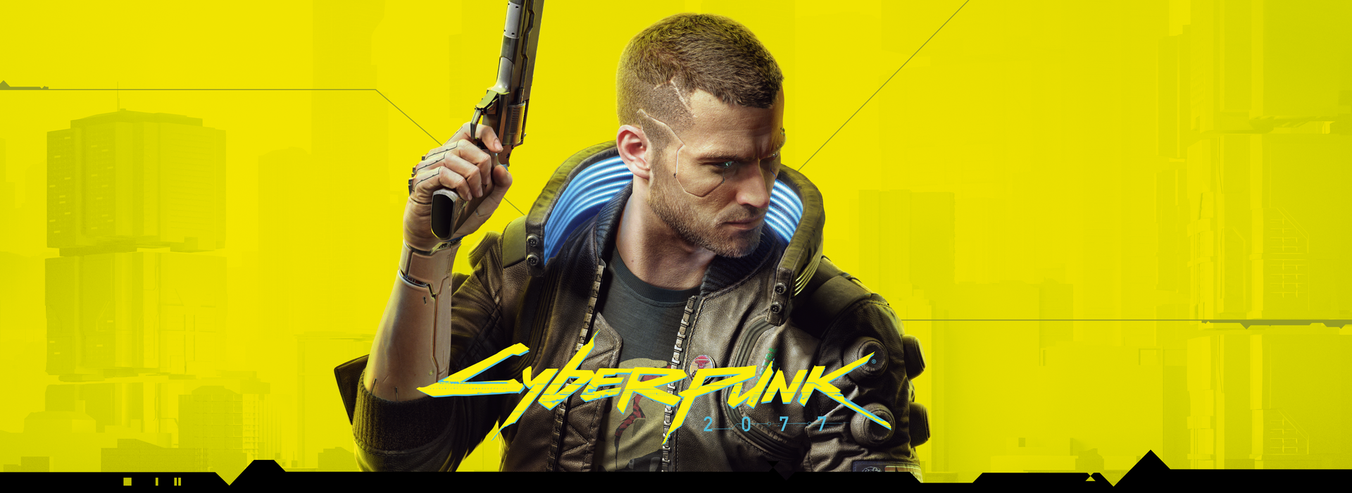Cyberpunk 2077 video game branded title key visual