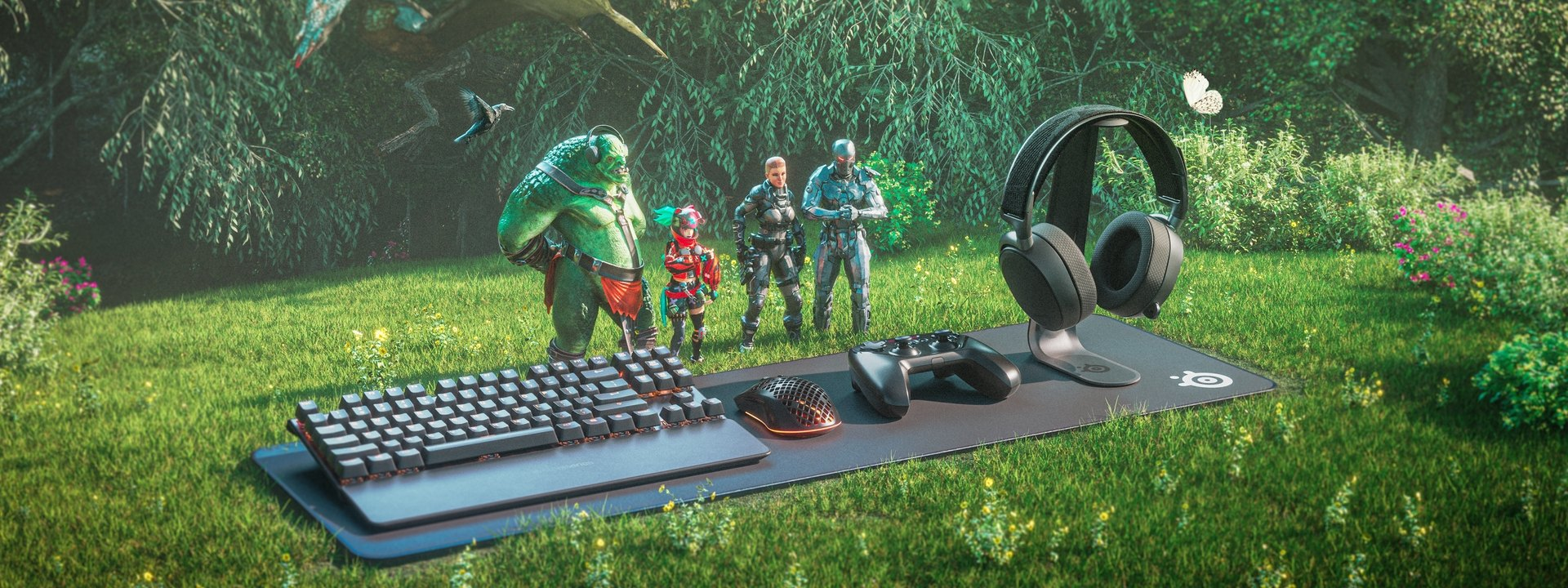An illustrative render of a SteelSeries keyboard, mouse, controller, and headset sitting on a mousepad against a lush forest landscape alongside Lars the troll and other gaming characters.