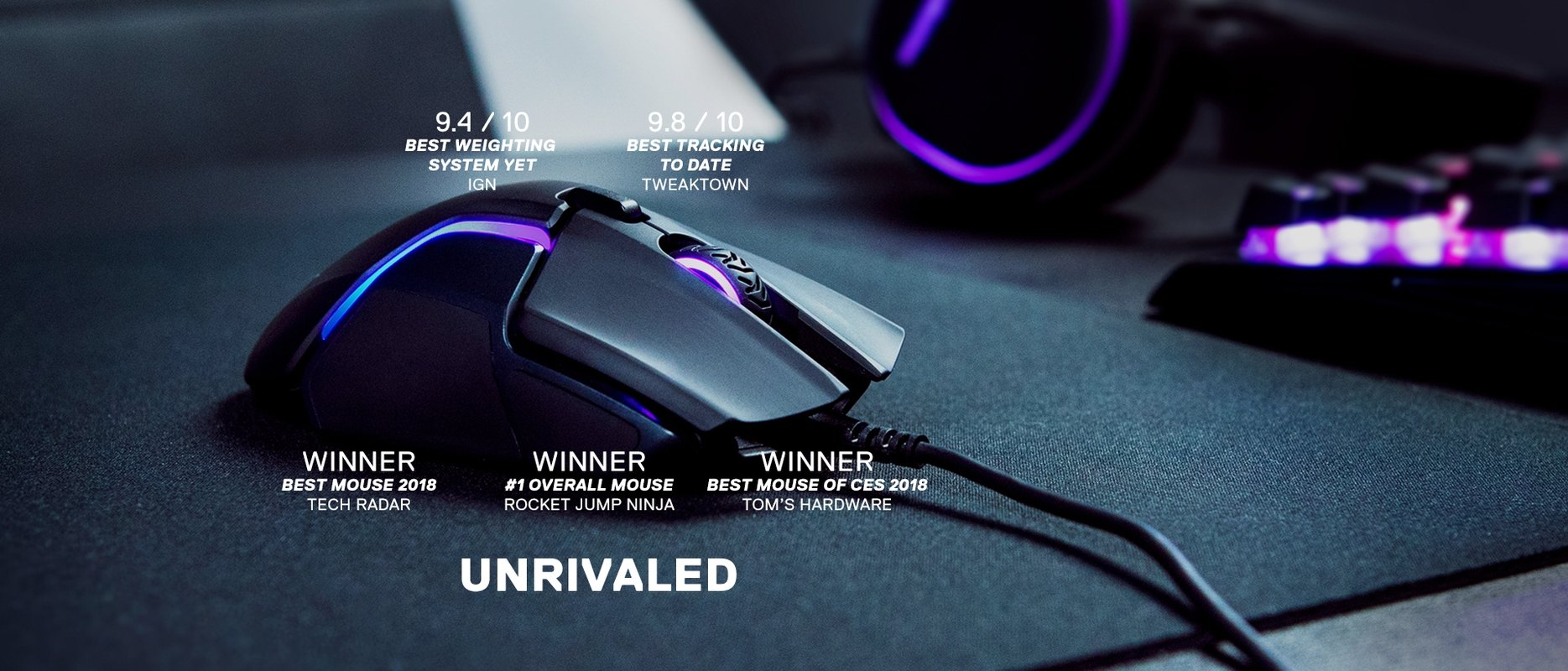 Rival 600 gaming mouse with awards