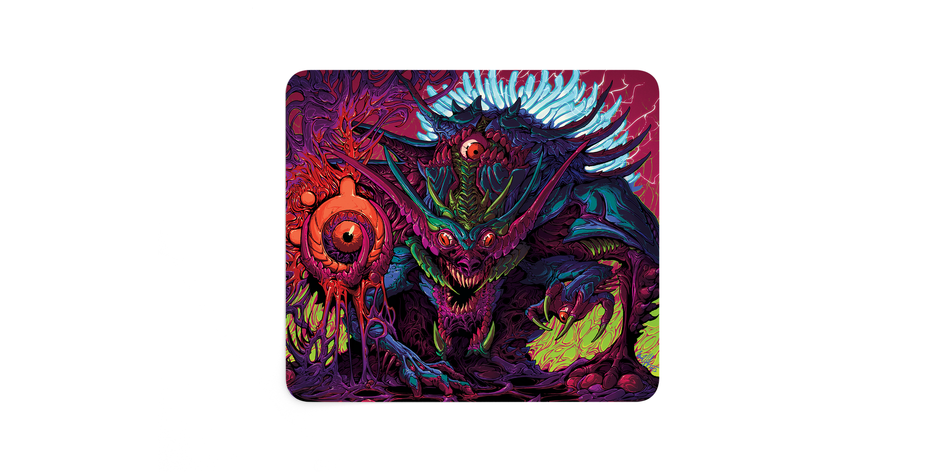 The QcK Large artist mousepad viewed from a the top showing the full artwork