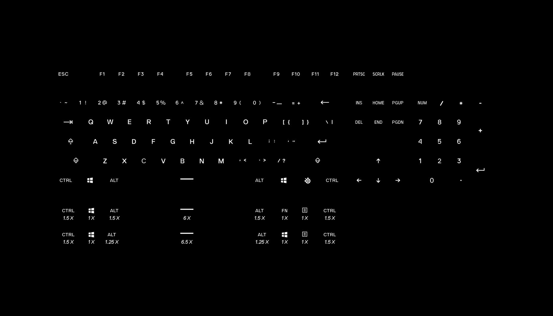 Touches Prismcaps américaines avec 2ensembles supplémentaires (16touches) de touches de clavier pour des configurations alternatives de la rangée du bas.