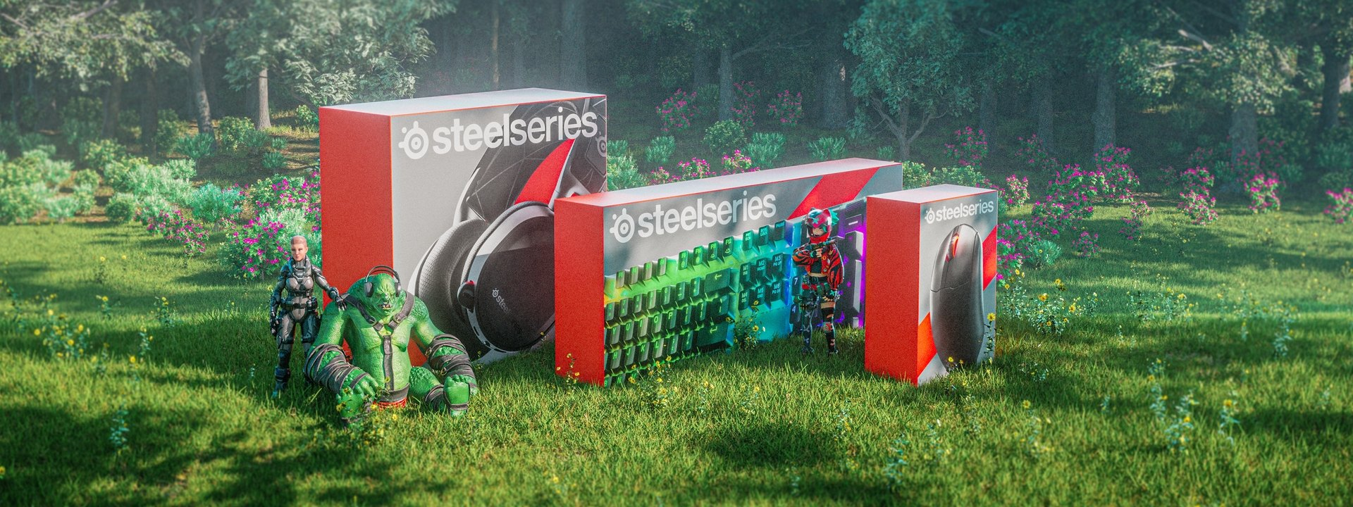 An illustrative render of SteelSeries products in their boxes sitting against a lush forest landscape alongside Lars and other gaming characters.