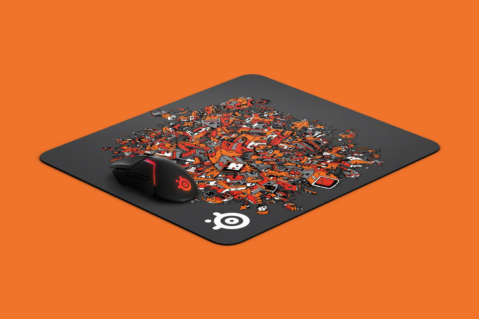 QcK Large artist series mousepad featuring a steelseries mouse for size comparison