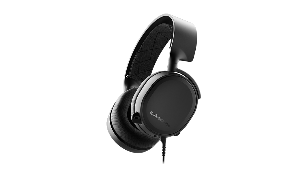Arctis 3 - Black gaming headset from an angled profile with the microphone in the retracted position