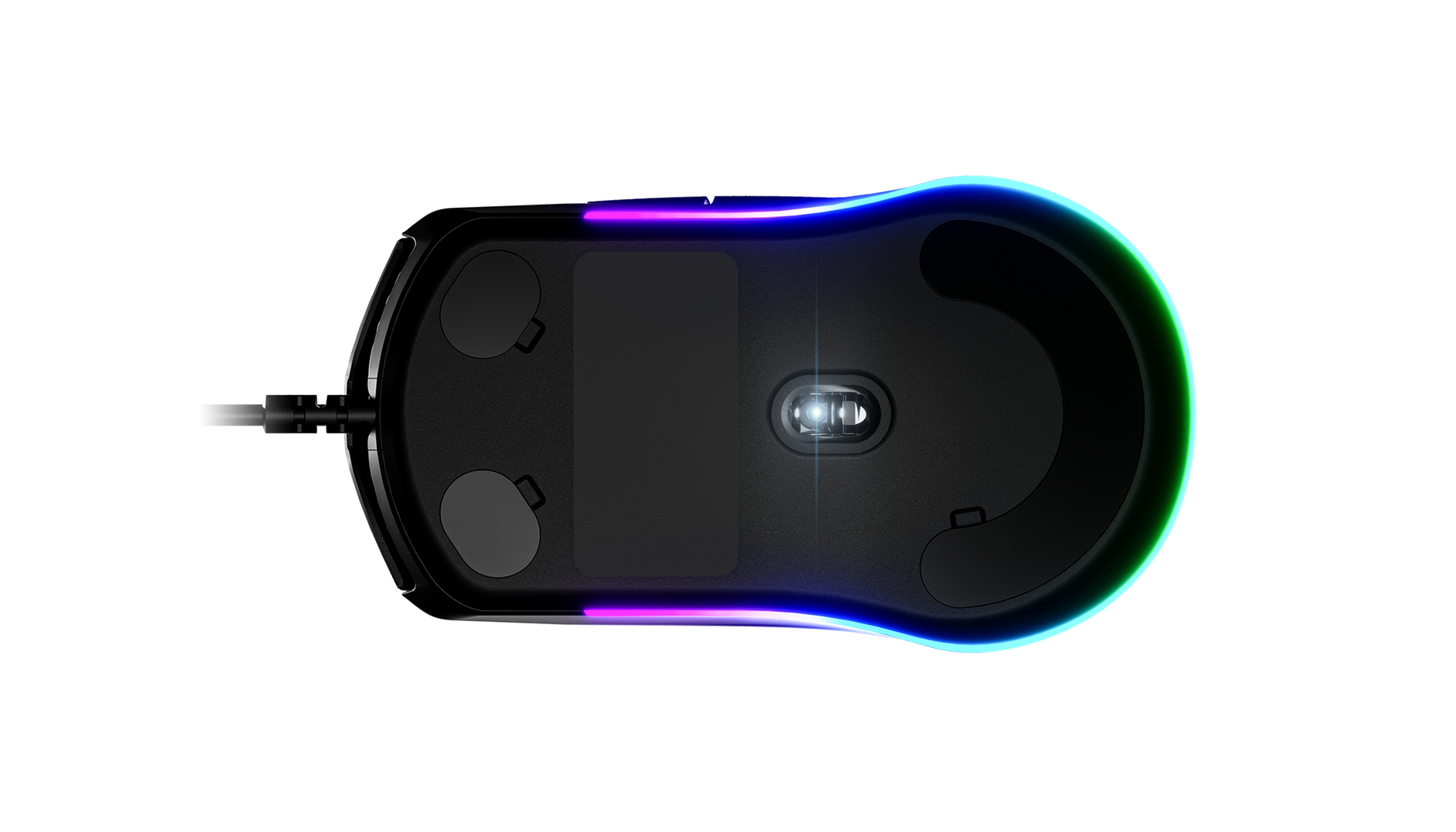 Rival 3 gaming mouse bottom view
