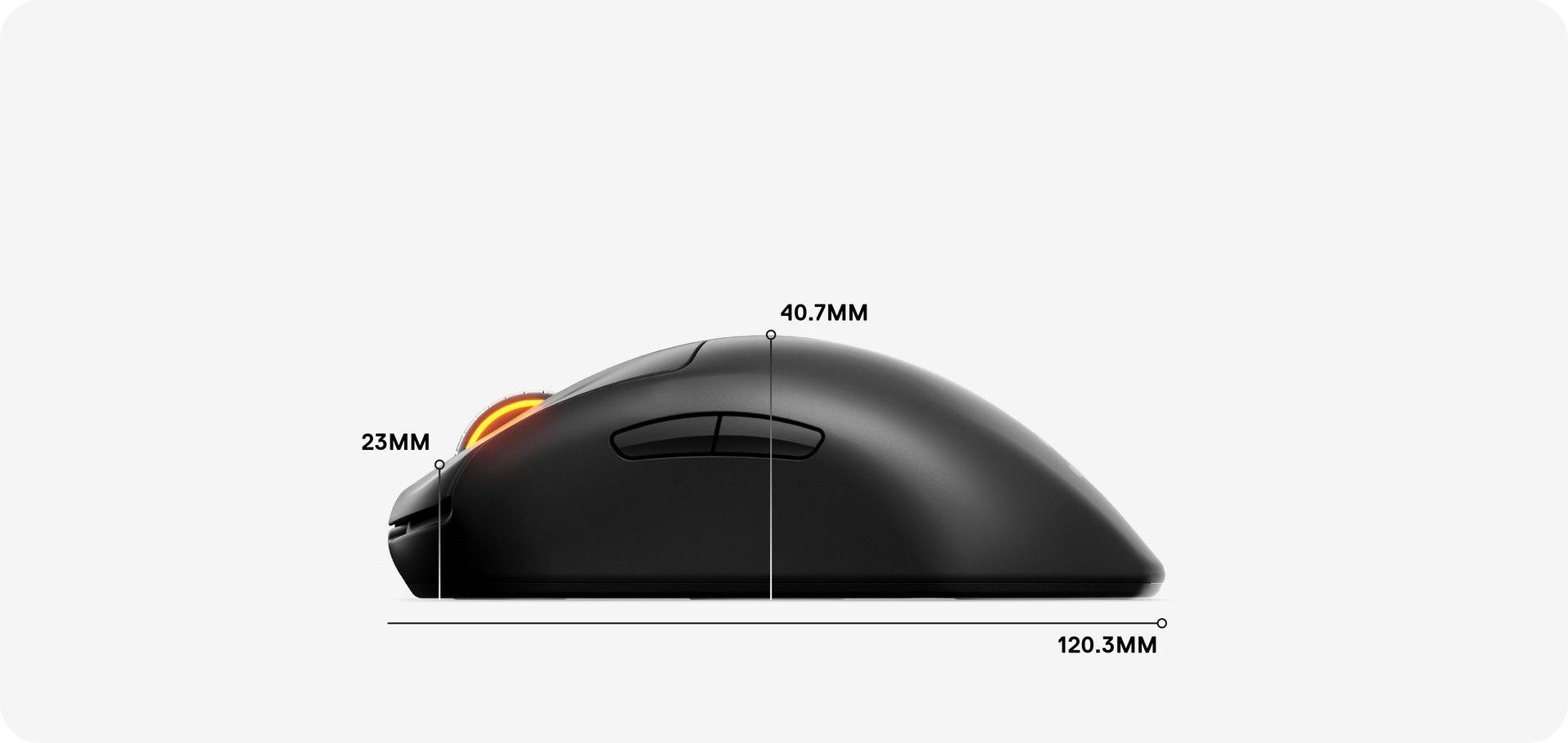 Dimensions de la souris: 120,3mm de longueur, 40,7mm du point d'appui de la paume à la base, et 23mm de la molette de défilement à la base.