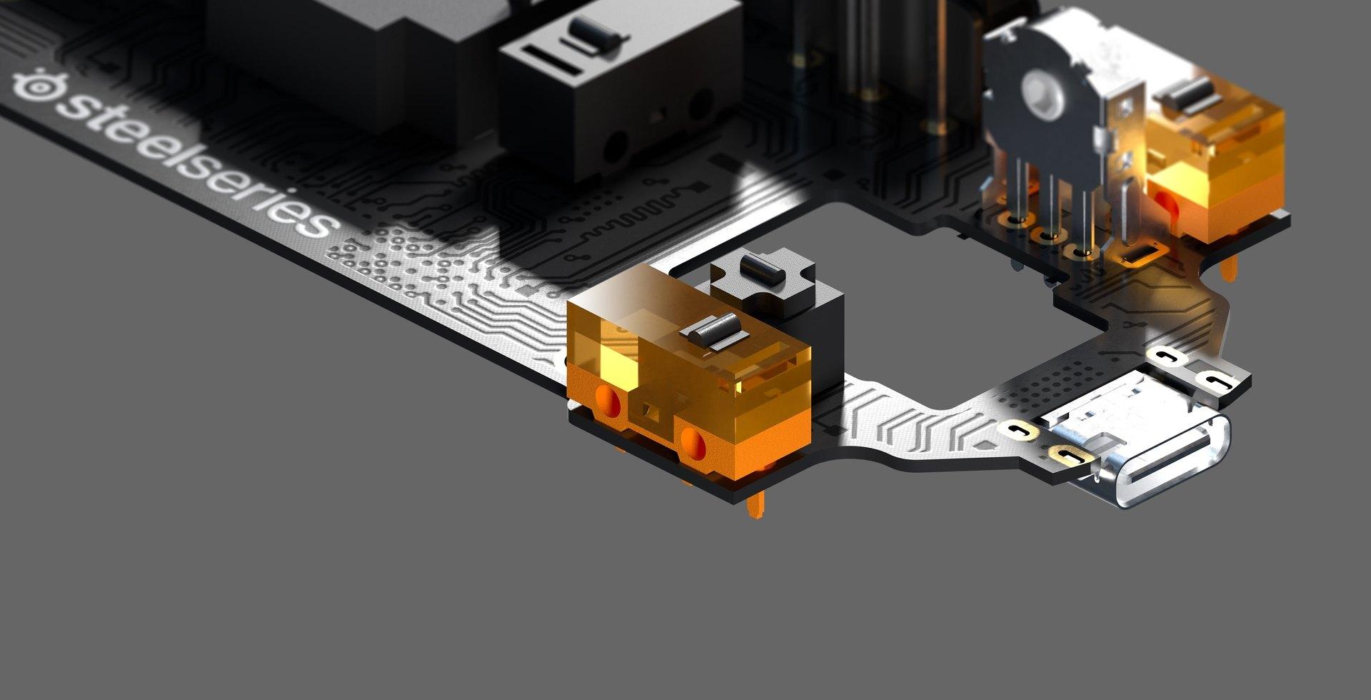 Image du circuit intérieur de la souris Aerox3 montrant les nouveaux switchs gauche et droit.