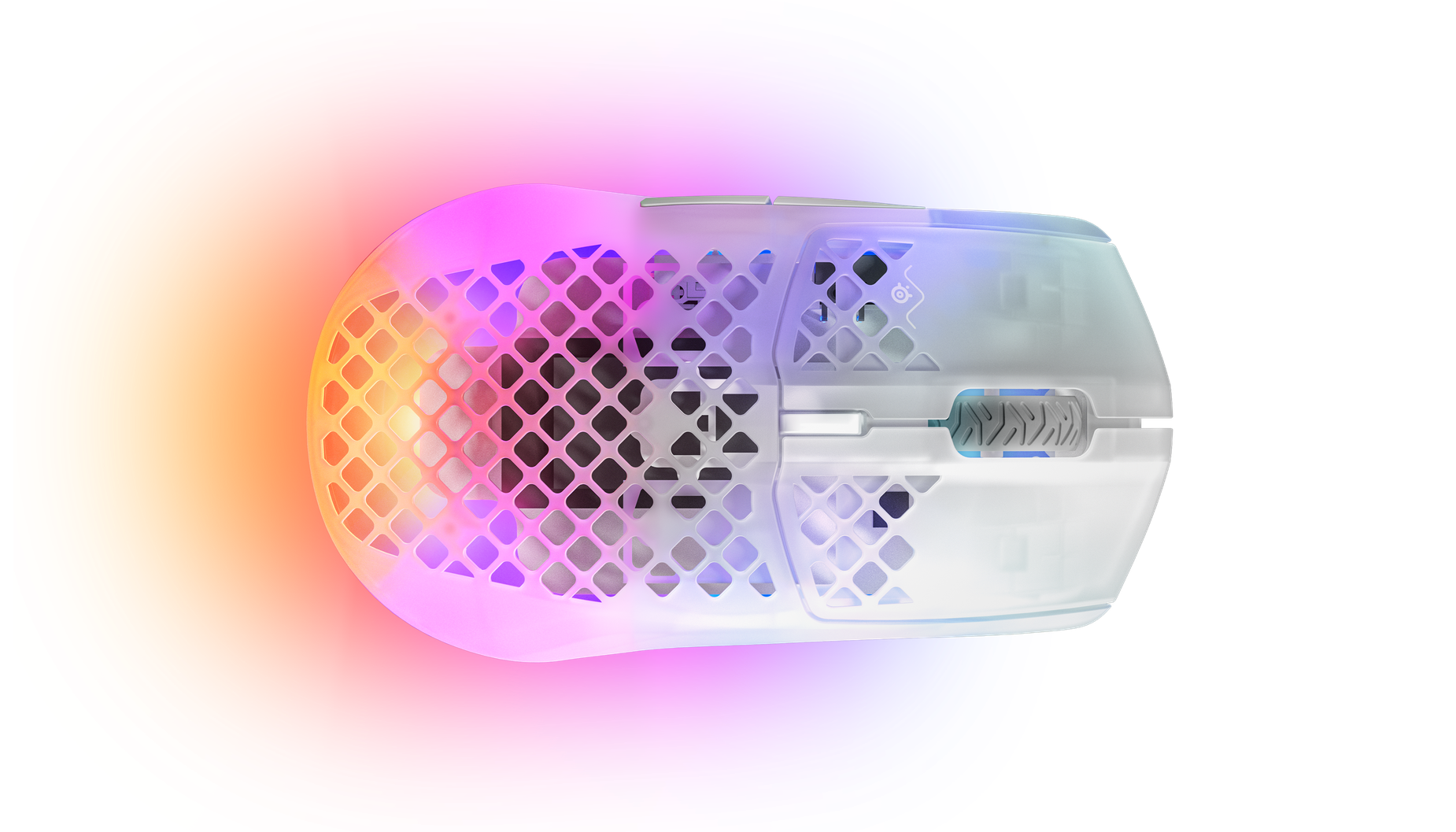 Top view of the Aerox 3 Wireless Mouse, ghost edition.