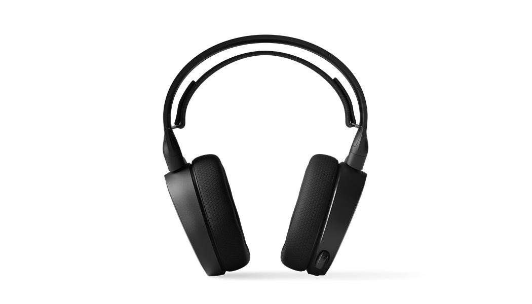Arctis 3 - Black gaming headset viewed straight onward with microphone in retracted position