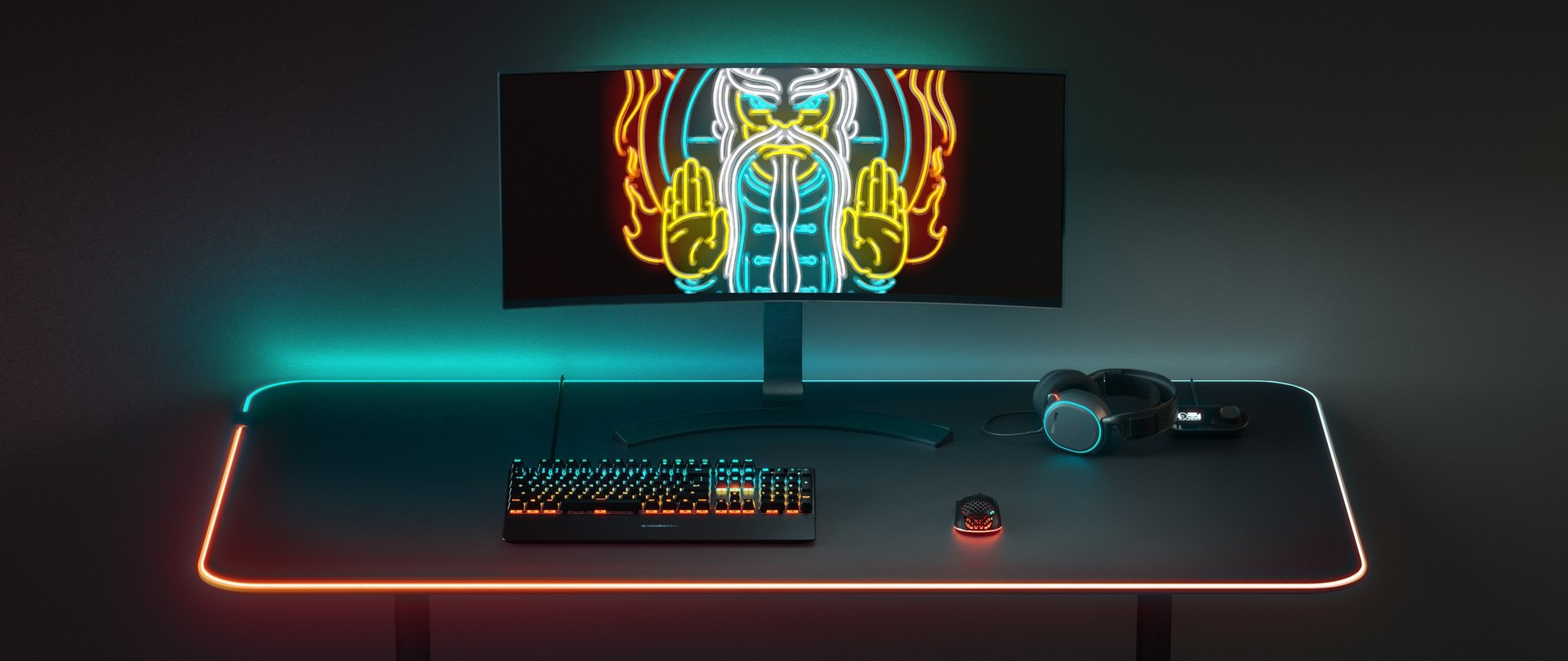 An full desktop setup, with an Apex Pro keyboard, Aerox 3 Wireless mouse and a Arctis Pro headset