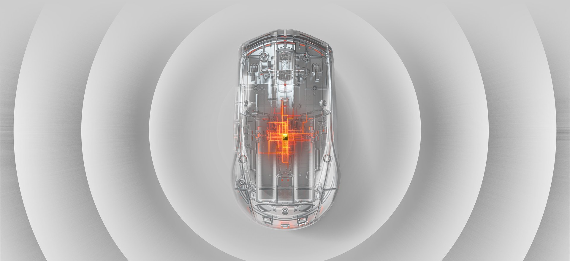 Rival 3 Wireless in an X-ray look with the interior contents of the mouse illuminated
