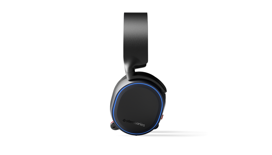 Side view of headset with RGB illuminated and microphone retracted.